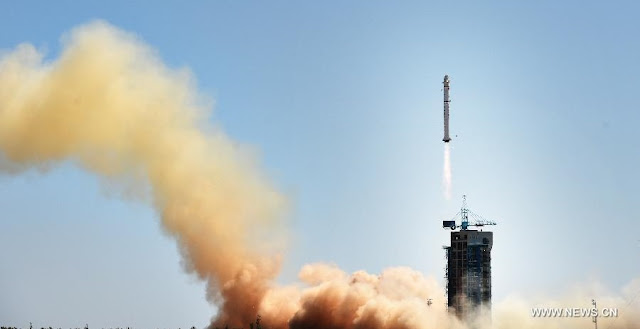 A Long March 2D rocket carrying the Gaofen-9 satellite, blasts off from the launch pad at the Jiuquan Satellite Launch Center in Jiuquan, northwest China's Gansu Province on Sept. 14, 2015. Photo Credit: Xinhua/Zhao Yingquan