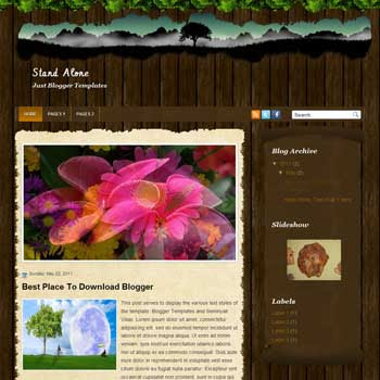 Stand Alone Blogger Template. convert wordpress theme to blogspot template. magazine style blog template. image slideshow blog template