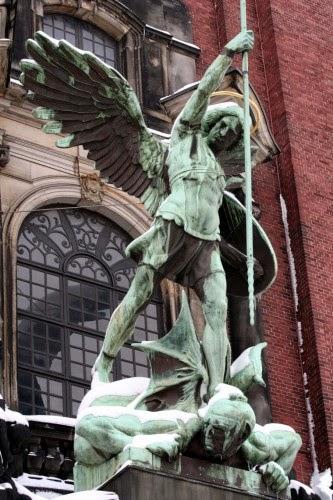 Archangel Michael slaying the dragon