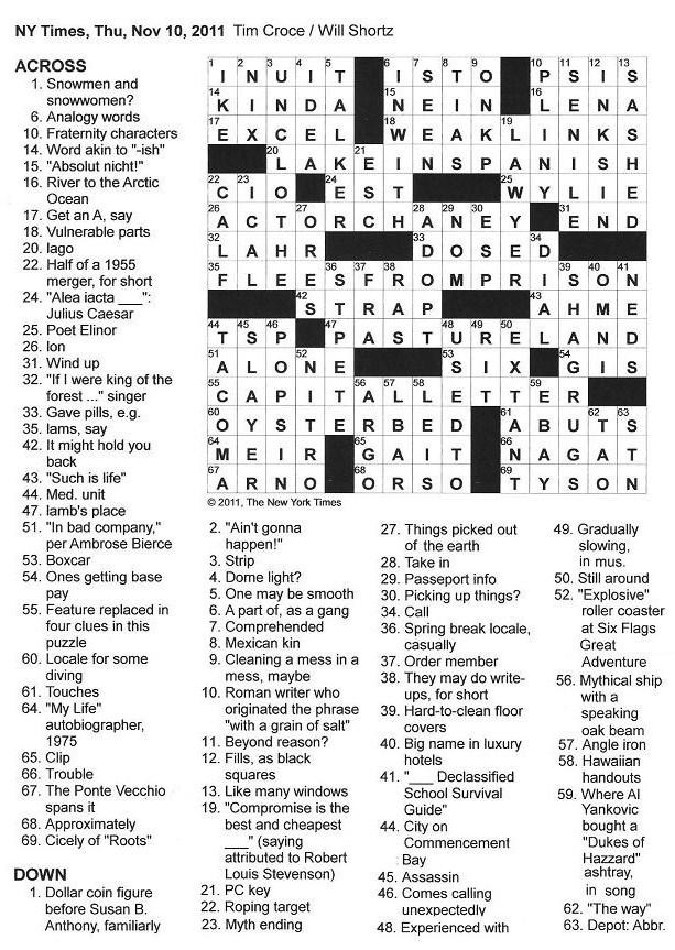 The New York Times Crossword in Gothic: 11.10.11 — An I for an L