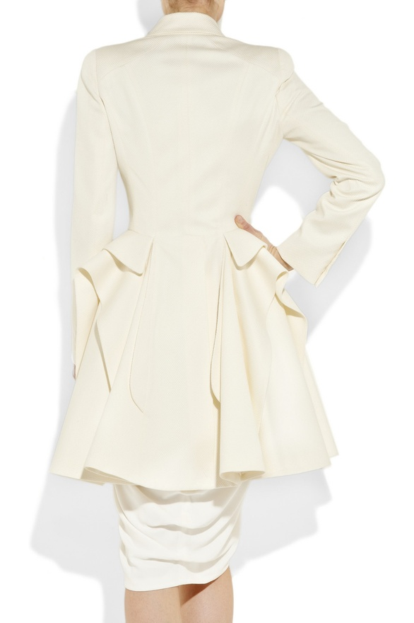 The Bottom Of Coat Is A Skirt Style Which Give It Such Feminine And Full Shape Features Origami Sculpting Peplum Detail