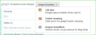 memasang link laman statis di menu horizontal