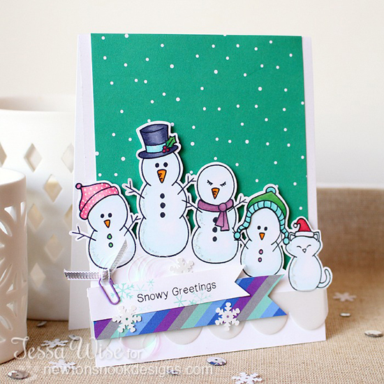 Snowy Greetings Snowman Family Card by Tessa Wise! Flaky Family Stamp Set by Newton's Nook Designs