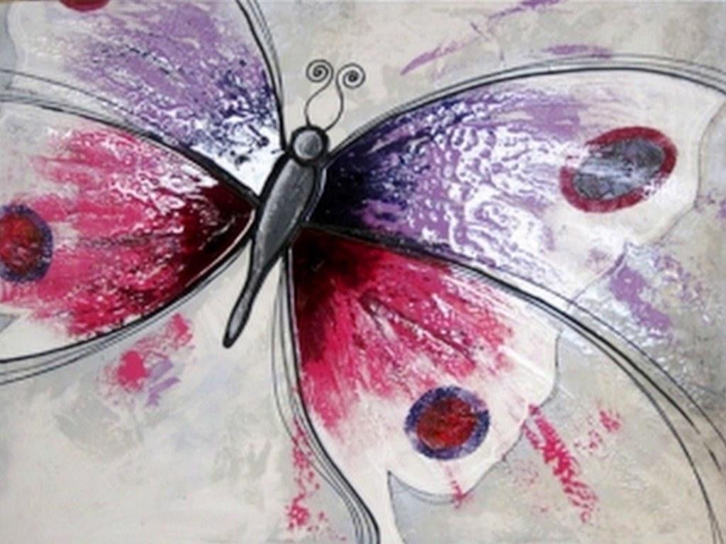 Cuadros pinturas oleos cuadro sencillo con mariposas for Pinturas acrilicas para cuadros