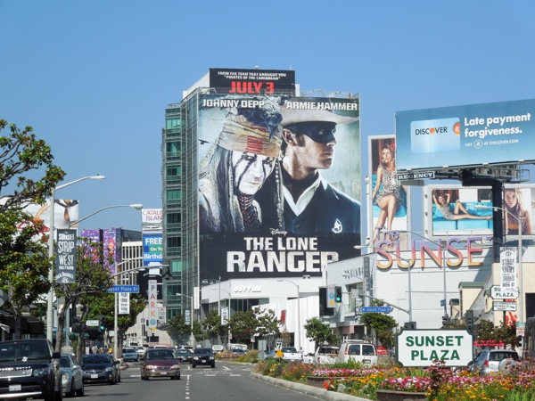 Giant Lone Ranger movie billboard Sunset Strip