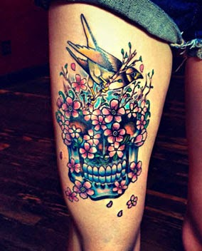Melhores tatuagens de caveira mexicana na perna