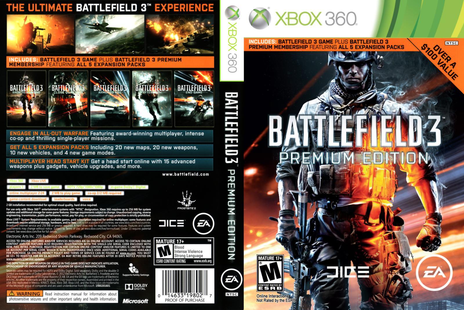 Capa Battlefield 3 Premium Edition Xbox 360