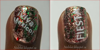 Right and left ring finger accent nails featuring a copper base topped with a white and silver micro-glitter mix, an emerald green glitter polish, a red glitter polish, and then stamped stamped with the words 'Viva Mexico' (left), and 'Fiesta' (right) in white.