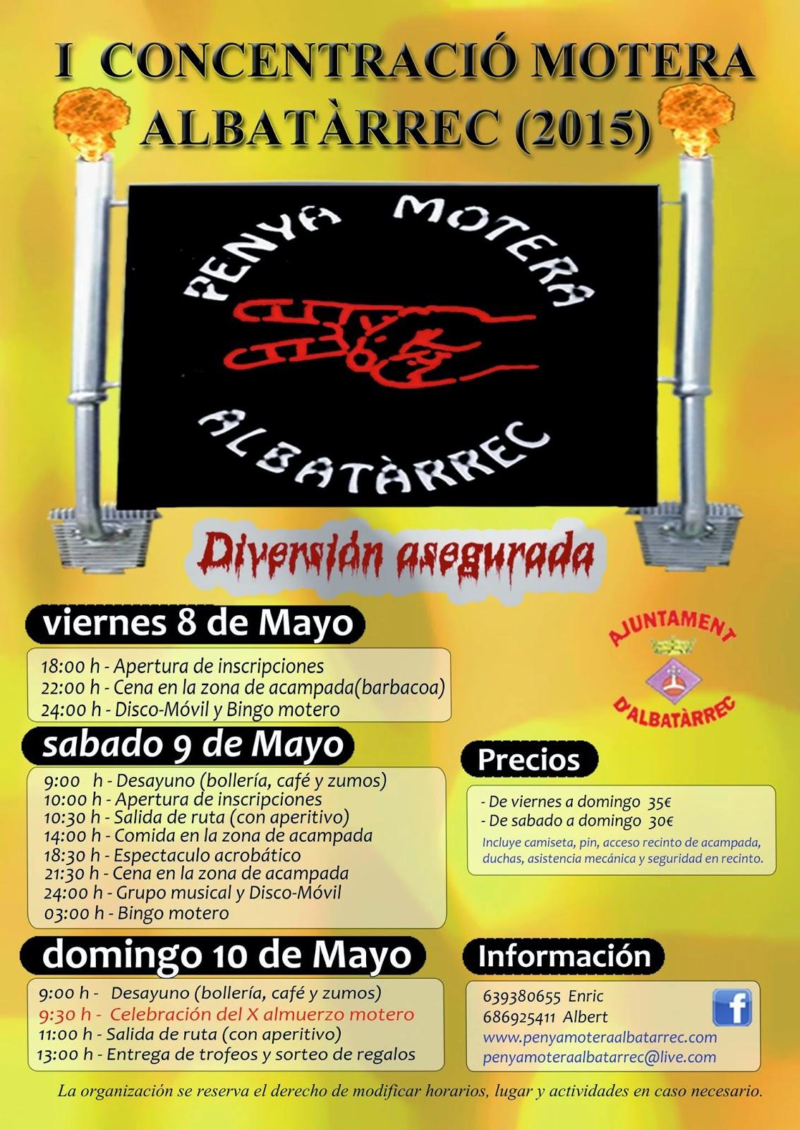 Programa concentració motera d'Albatàrrec 2015