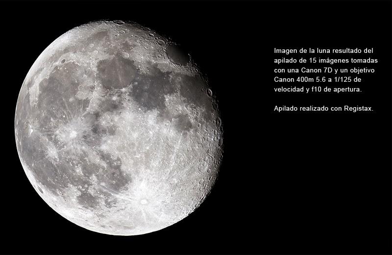 Imagen normal de la luna resultado del apilado de 15 imágenes.