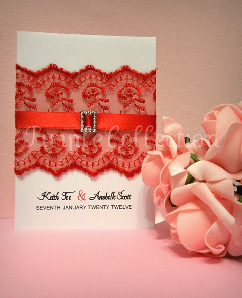 Red Lace Wedding Invitation Card, wedding invitation card, red lace wedding invitation card, classic fold card, laser card, red invitation card, red wedding card, red lace card, handmade card, wedding