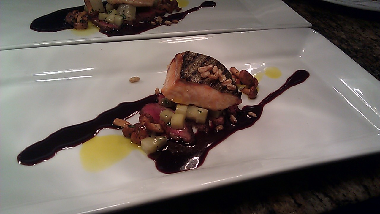 grilled arctic char & pan roasted squab
