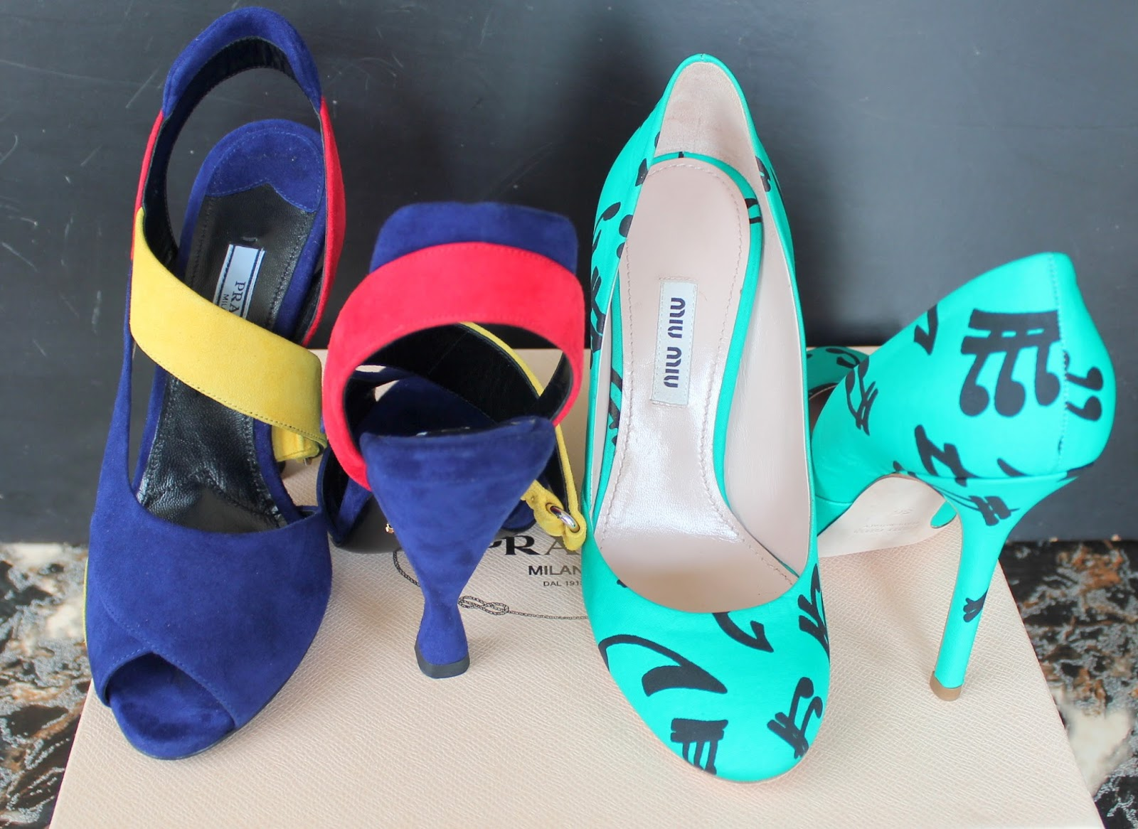 Designer Shoes - Prada color block heels and Miu Miu Musical Notes Pumps