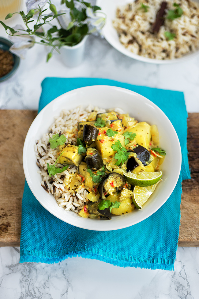 Vegan potato and eggplant curry
