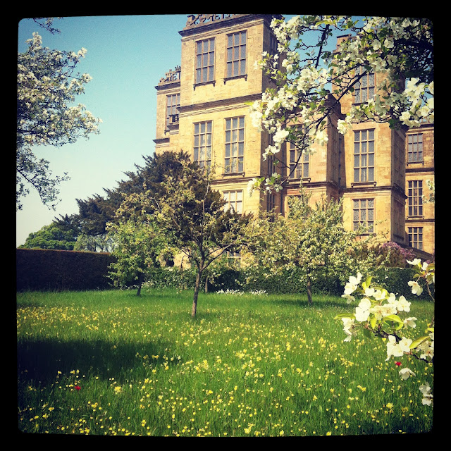 stately home, blossom, apple trees, Hardwick Hall, Bess of Hardwick, Elizabethan,