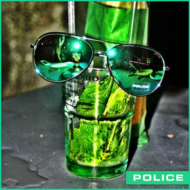 gafas police con cristales verdes