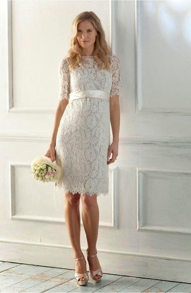 White Rose Short Wedding Dresses with Sleeve Model pictures hd