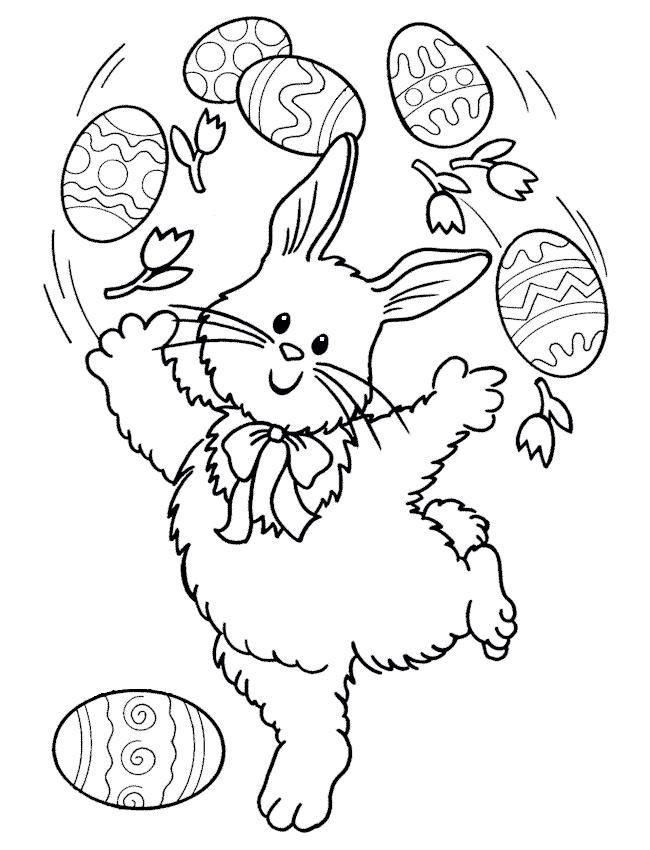 imagens para colorir Coelhinhos da Páscoa com seus Ovos