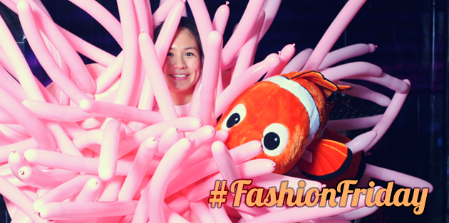 woman wearing a Nemo costume