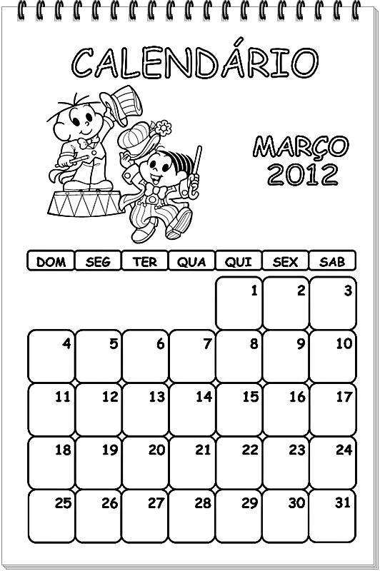 Calendários 2012 para colorir