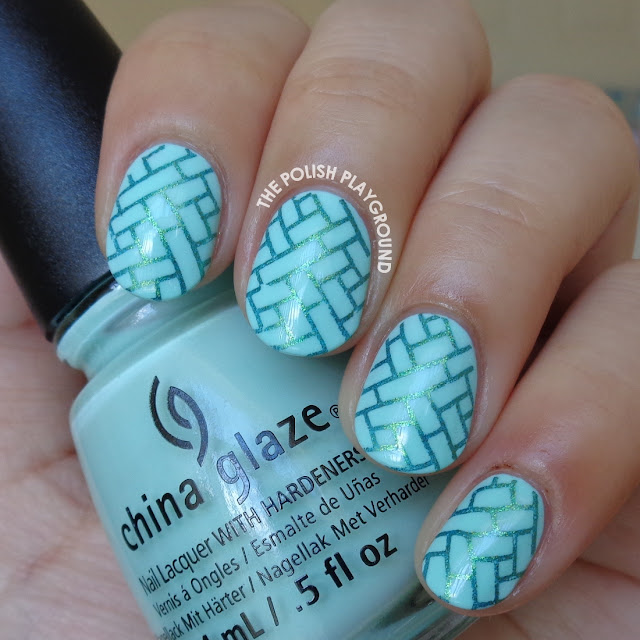 Blue and Metallic Green Stamping Nail Art