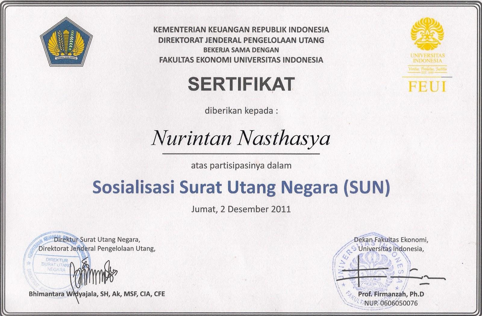 Nurintan Nasthasya Sertifikat