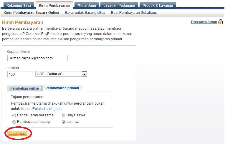 Kirim pembayaran dengan Paypal