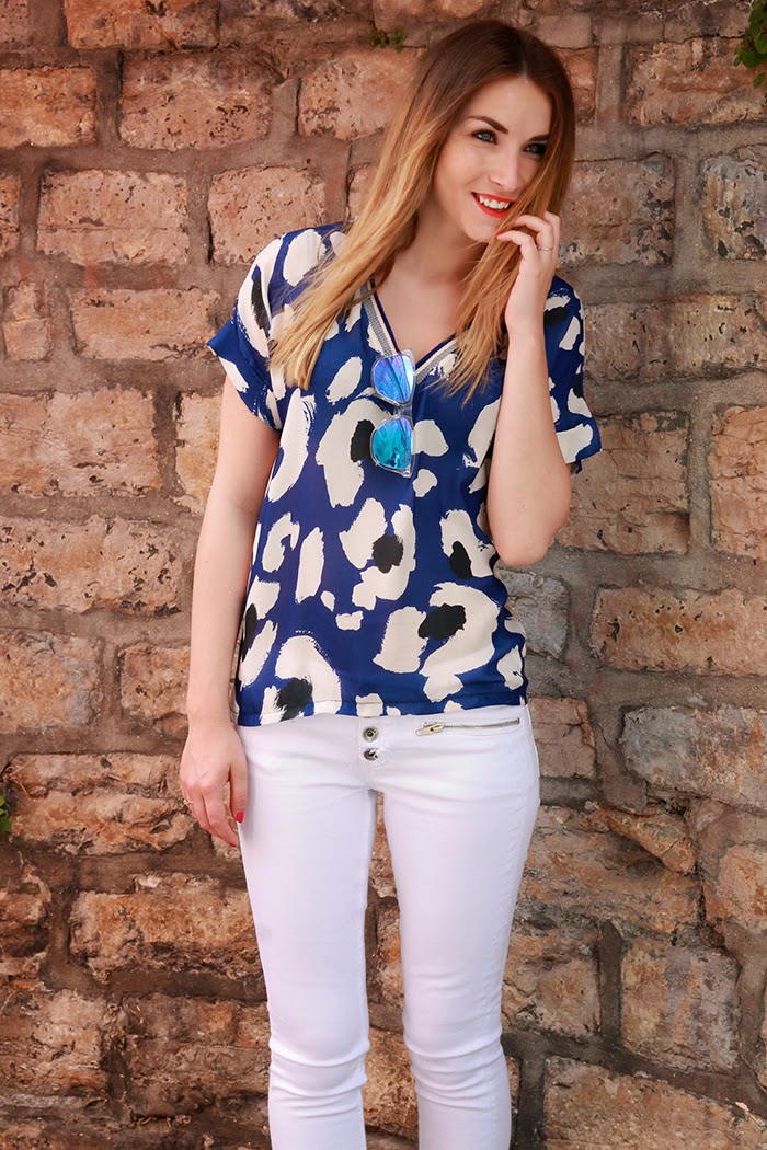 zara blue summer top