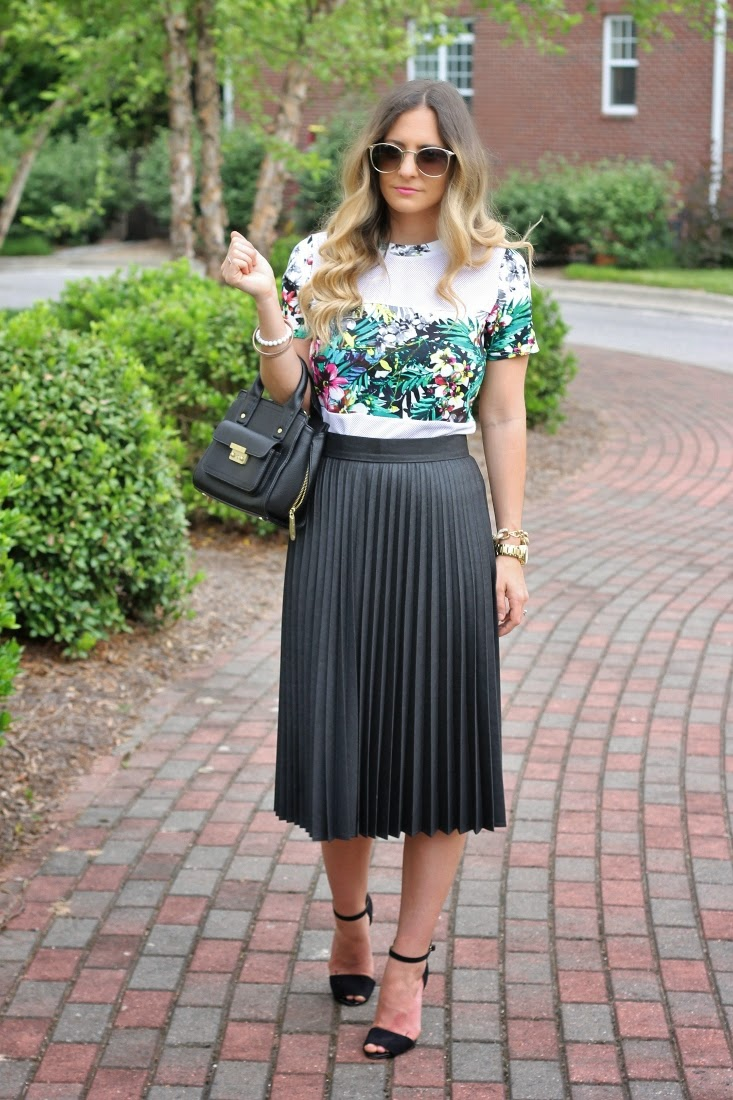 Pleated Midi Skirt with Tropical Print Tee