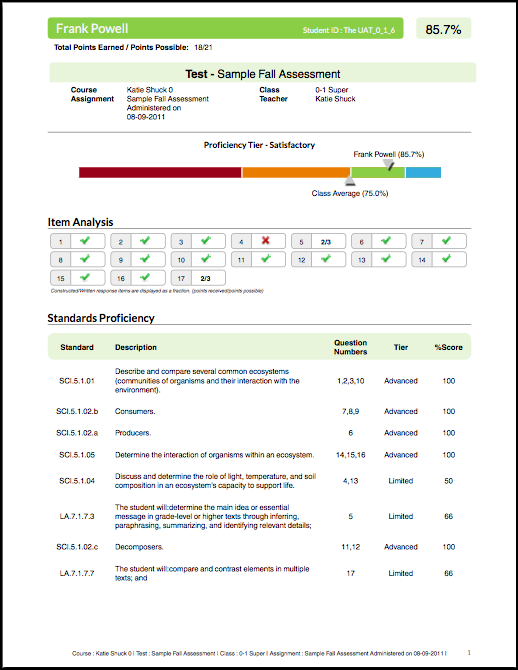 Generate and print Individual Student Reports for Assignments ...