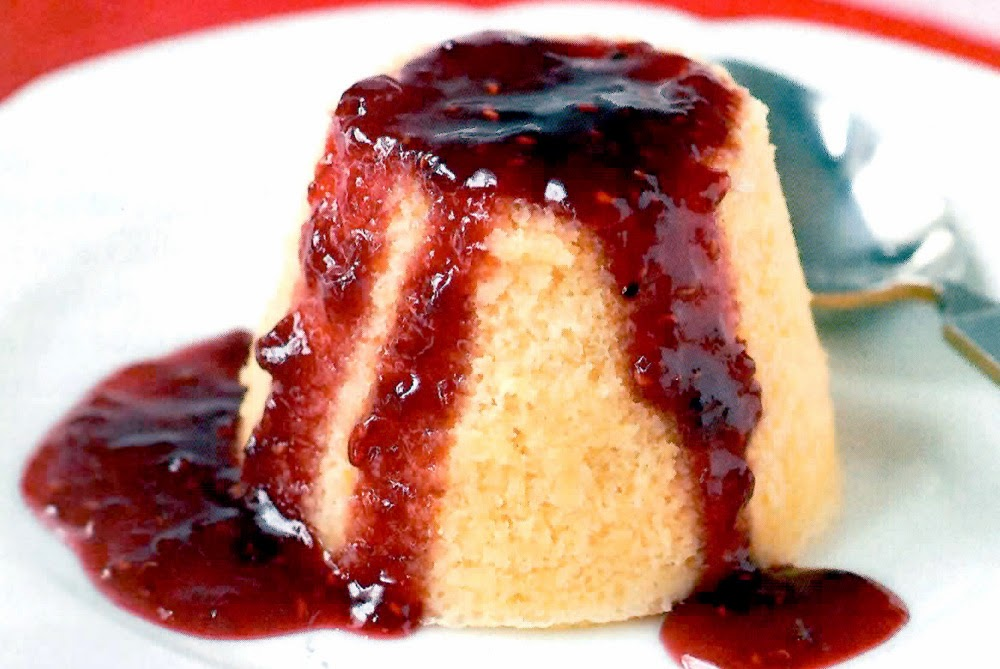 Strawberry Sponge Puddings: Today's recipe is for individual sponge desserts, each baked on a bed of strawberry jam, so that the jam flows down the sides of the sponges when they are inverted to be served.