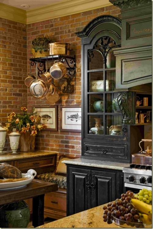 Traditional kitchen with brick walls 2013 ideas decorating idea - French country kitchens ...
