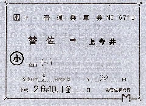 JR東日本 替佐駅 常備軟券乗車券2 発駅常備片道乗車券