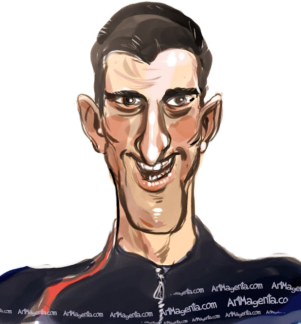 Novak Djokovic  caricature cartoon. Portrait drawing by caricaturist Artmagenta