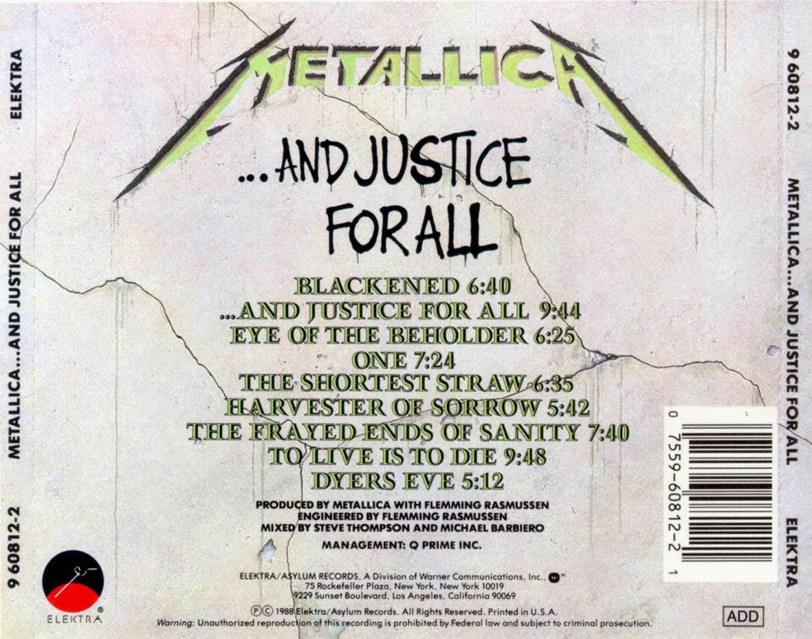gigadiscos metallica and justice for all usa 1988