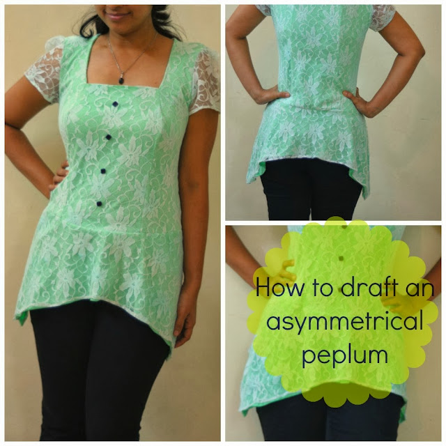 Free pattern drafting tutorial on how to draft an asymetrical peplum for a very stylish look