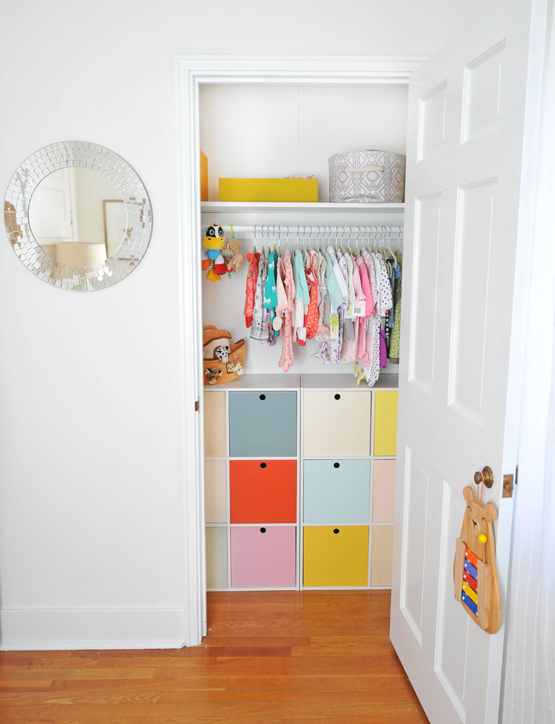 Modern Colorful Baby Girl Nursery | Cube Storage