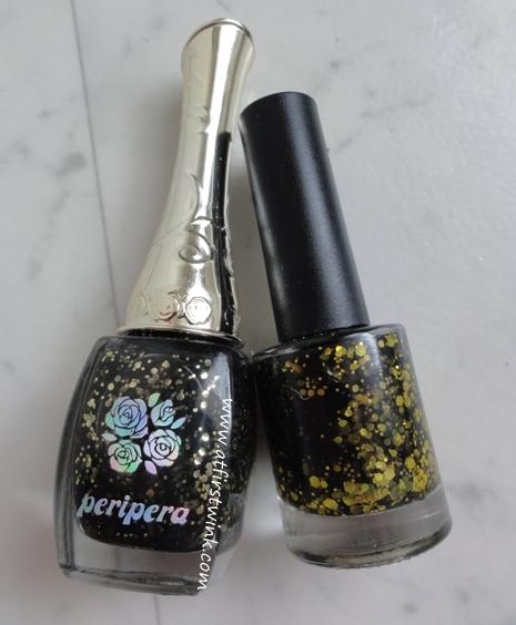 Modi nail polish 80 vs. Peripera nail polish BK504