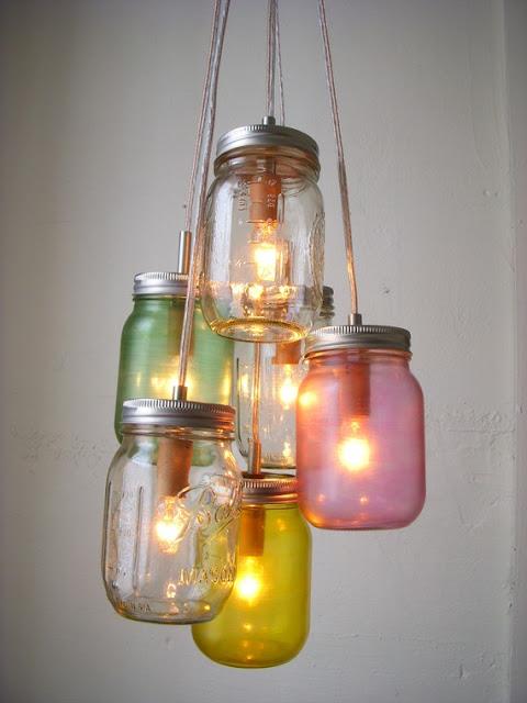 Chandelier from jars