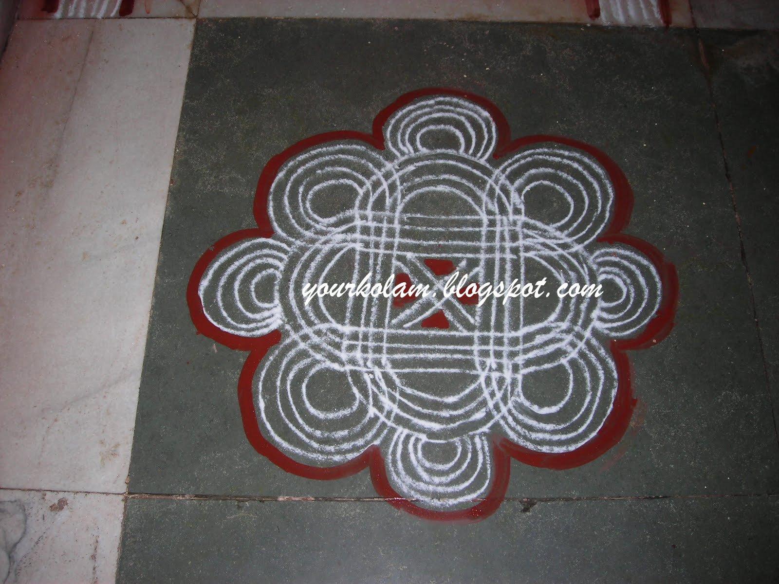 அழியாத கோலம்/ ముగ్గులు / रंगोली : Padi kolam Rangoli Designs With Dots For New Year 2012