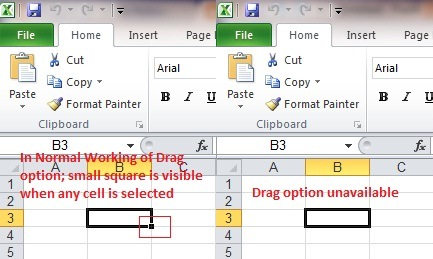 Microsoft Excel click & Drag option