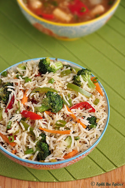 broccoli fried rice recipe indo chinese style fried rice with