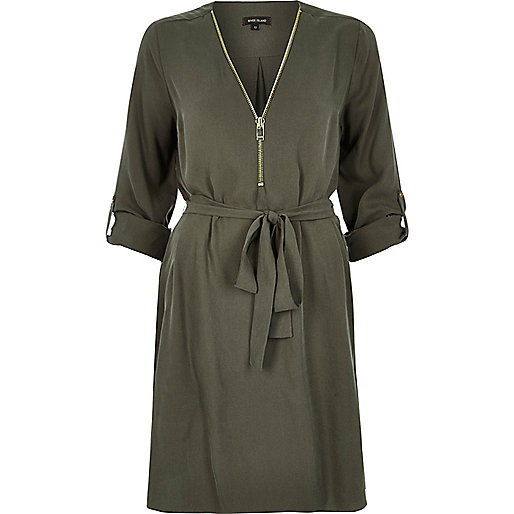 khaki zip shirt dress, river island khaki dress, river island zip dress,