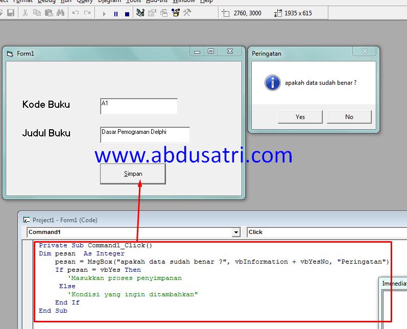 tutorial pembuatan msgbox di VB 6.0 dengan mudah