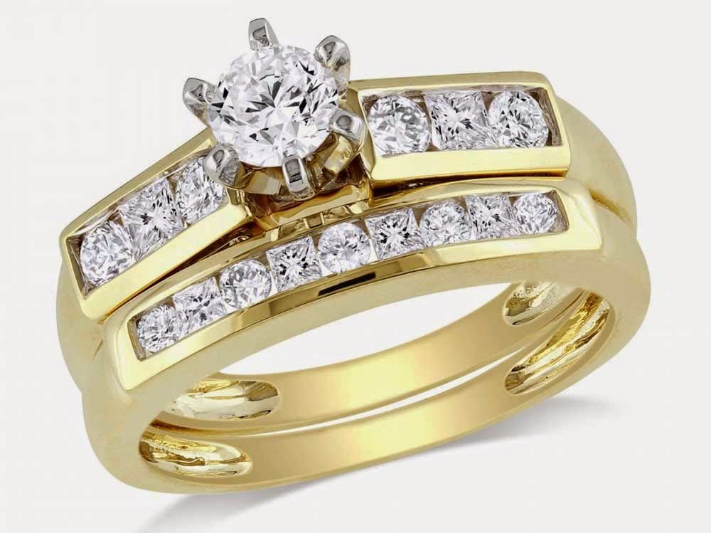 Womens Matching Diamond Bridal Sets Gold pictures hd