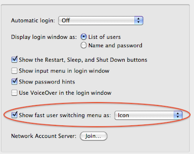 System Preferences Mac OS X show fast user switching