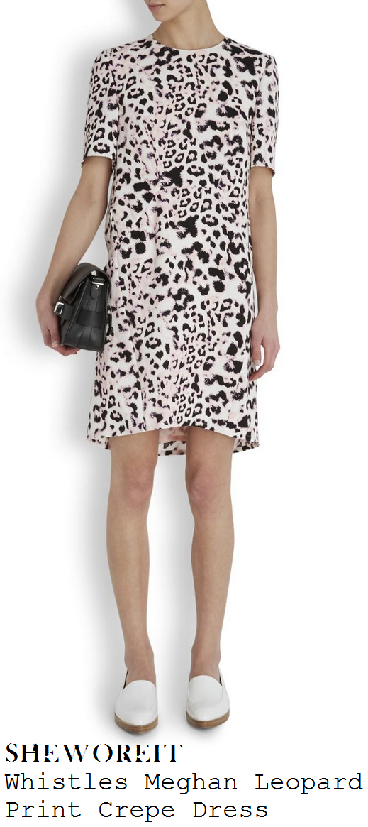 kim-sears-pale-pink-white-and-black-leopard-animal-print-half-sleeve-dress-wimbledon