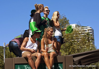 Watching the St Patrick's Day Parade, Sydney