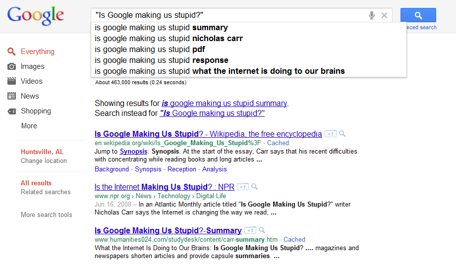 is google making us stupid: summary and response essay Is google making us stupid summary - darci peterson in nicholas carr's essay, is google making us stupid, he claims that how our mind processes information depends on the training.