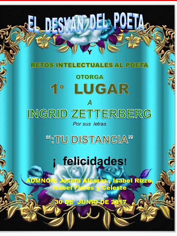 """Diploma de 1er. Puesto en el foro El desván del poeta por mi poema """"Tu distancia"""""""